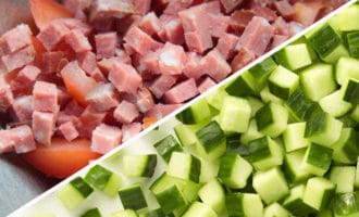 колбаса и огурцы кубиком