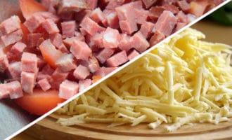 натертый сыр и колбаса