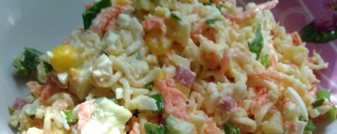 рецепт салата из вермишели быстрого приготовления