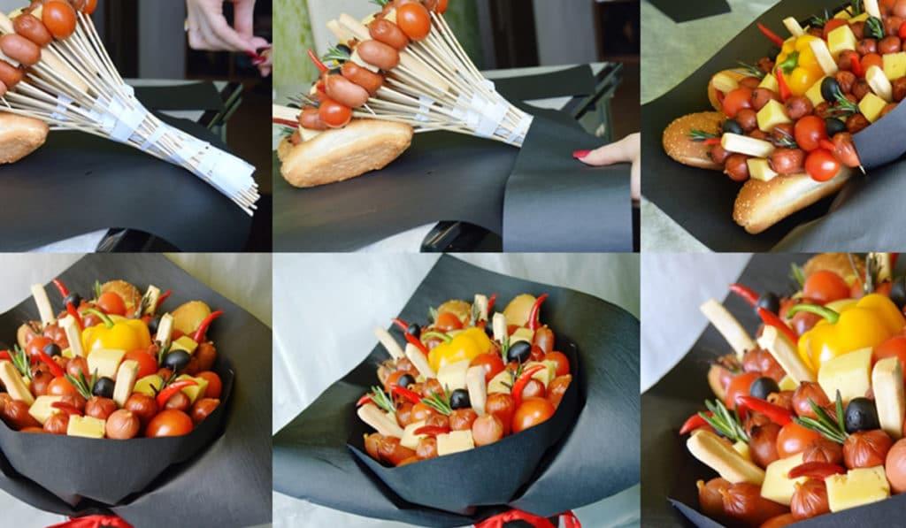 Процесс создания букета из еды
