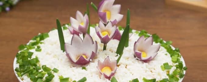 салат полянка с цветами рецепт