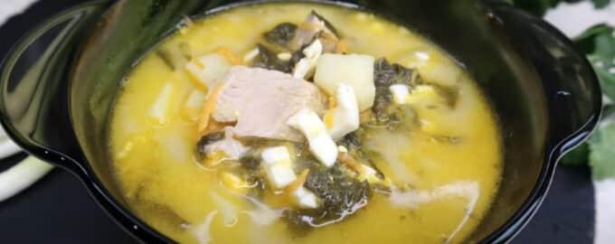 рецепт зелёный борщ со щавелем и яйцом